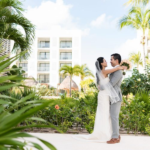 Bride and groom portrait at Finest Playa Mujeres Resort, Cancun