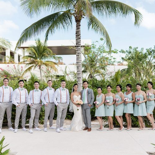 Bridal party at portrait at Finest Playa Mujeres Resort, Cancun