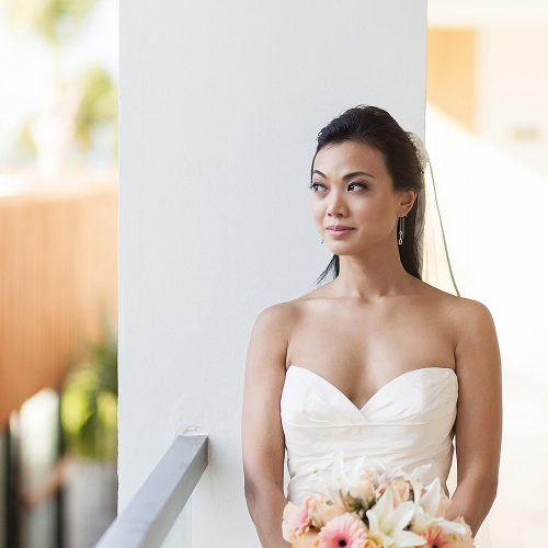 Portrait of bride before her wedding in Cancun