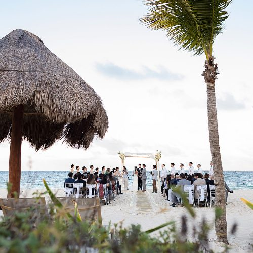 Beach wedding ceremony at Finest Playa Mujeres Resort, Cancun