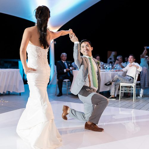 Bride and grooms first dance at Finest Playa Mujeres Resort