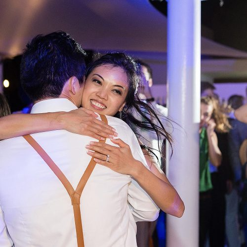 Couple holding at Wedding reception in Finest Playa Mujeres Resort