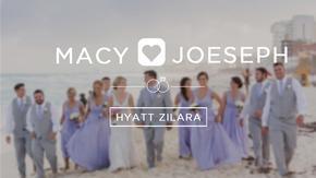 Bridal party walking down beach in Tulum
