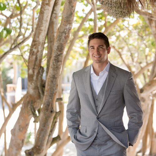 Portrait of groom before wedding at el Paraiso Tulum
