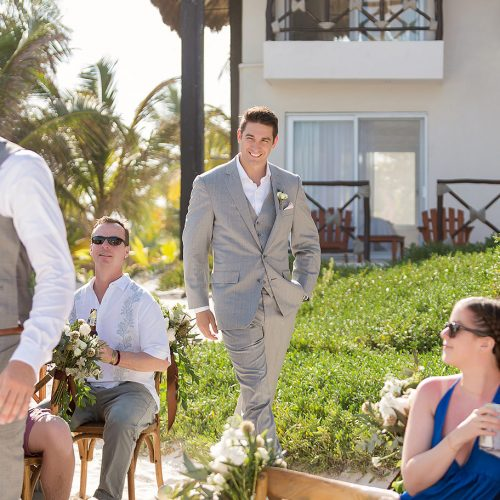 Groom walking down aisle at el Paraiso Tulum wedding