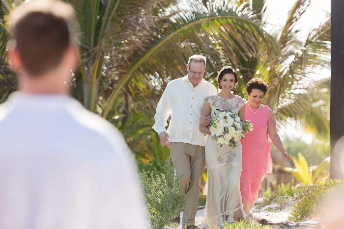 Bride walking down aisle at el Paraiso Tulum wedding