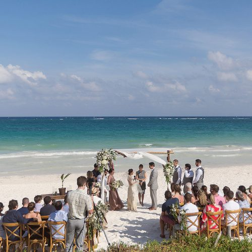 Wedding ceremony with guests at el Paraiso Tulum