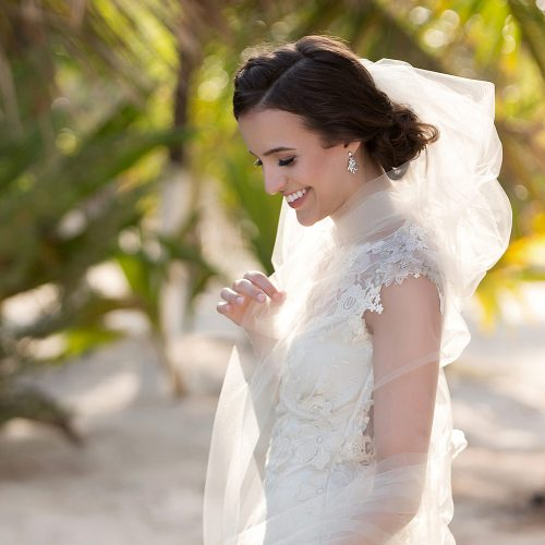 Portrait of bride at wedding in Tulum