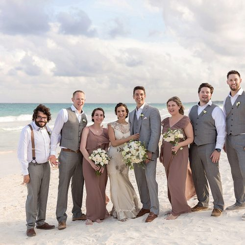 Bridal party on beach in Tulum wedding