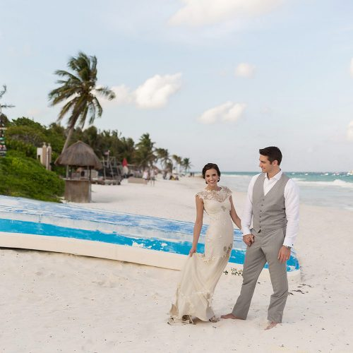 Bride and groom portrait after wedding in Tulum
