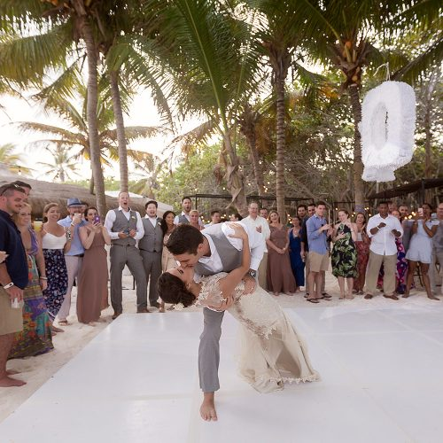 Bride and grooms first dance at wedding in Tulum