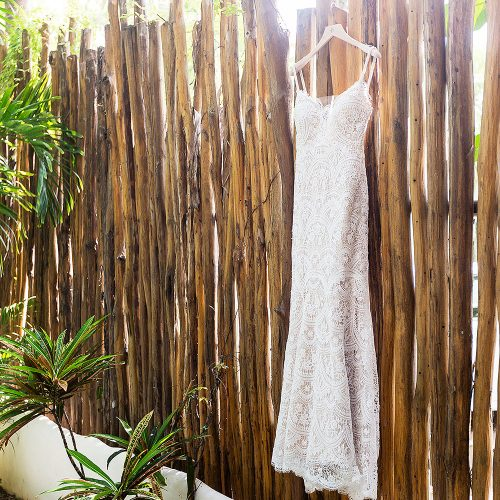 Dress hanging in Tulum before wedding