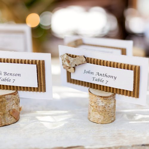Escort cards at wedding in Tulum