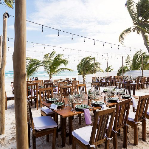 Reception location at wedding in Tulum