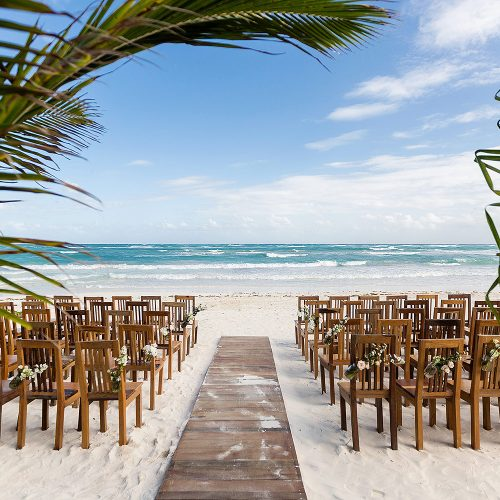 Beach ceremony location at Akiin wedding in Tulum
