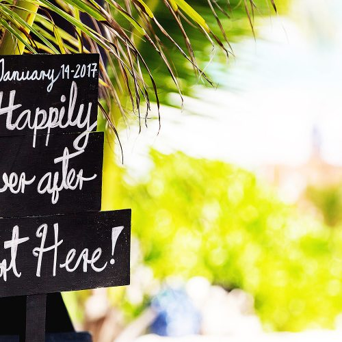 Fun sign at wedding in Tulum