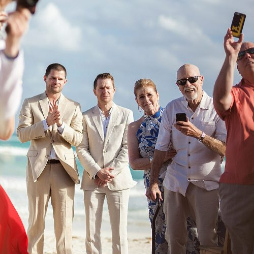 Grooms waiting for bride at wedding in Tulum