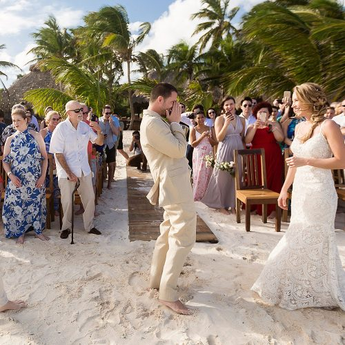 Groom excited to see bride at Akiin wedding in Tulum