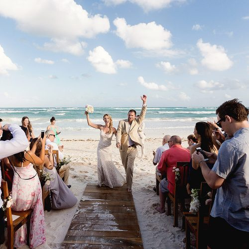 Bride and groom after wedding in Tulum