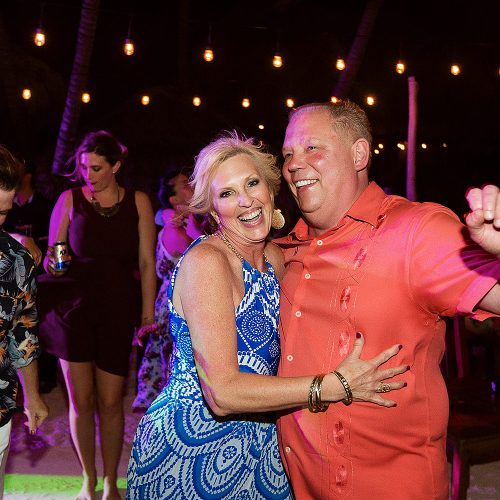 Guests dancing at Akiin wedding in Tulum