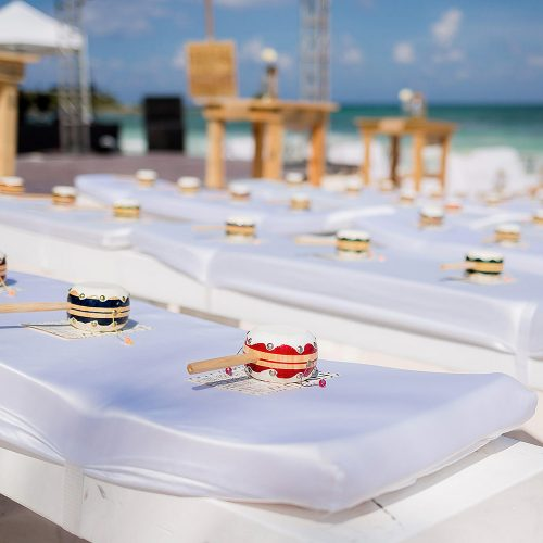 Chairs ready for wedding in the Riviera Maya