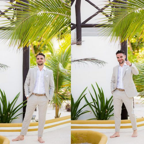 Portraits of groom before his wedding in Riviera Maya