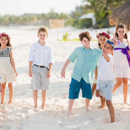Kids attending wedding in Riviera Maya