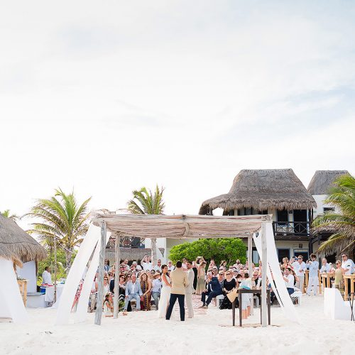 Beach wedding ceremony in the Riviera Maya