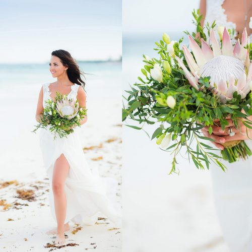 Bridal portraits on beach after wedding