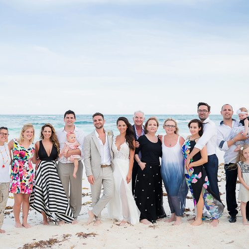 Family photograph after wedding in Riviera Maya