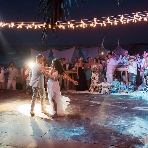 Bride and groom first dance at Riviera Maya wedding
