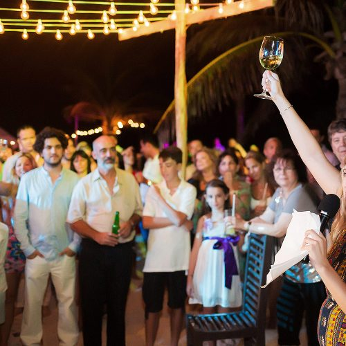 Toast at wedding in Riviera Maya