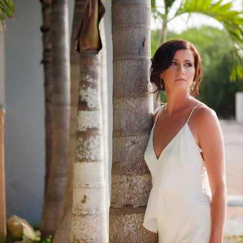 Portrait of bride in garden before wedding in Tulum