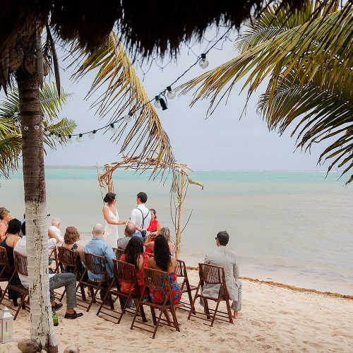 Beach wedding ceremony in Tulum