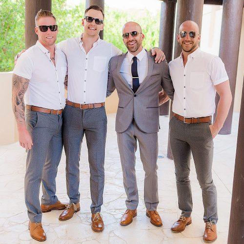 Groom with Groomsmen at NOW Jade Riviera Cancun wedding