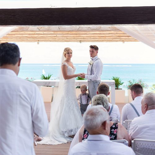 Wedding ceremony at Royalton Riviera Cancun sky deck