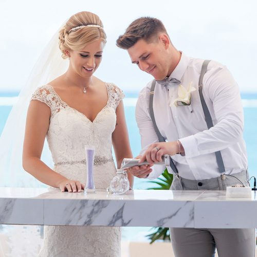 Sand ceremony at Royalton Riviera Cancun Wedding