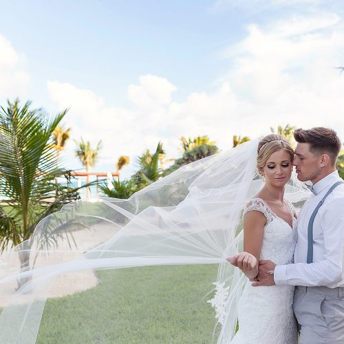 Bride and groom portrait at Royalton Riviera Cancun Wedding