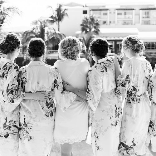Bridesmaids at in robes at NOW Jade Cancun wedding