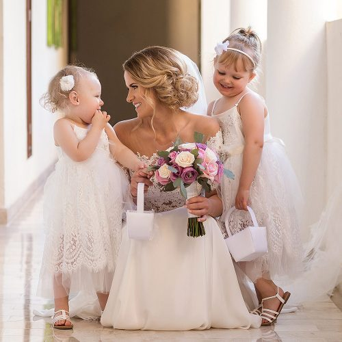 Portrait of bride and flower girls