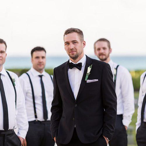 Groom and groomsmen at NOW Jade Cancun resort