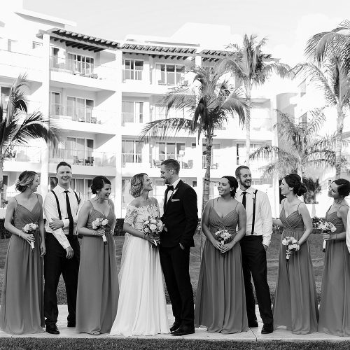Bridal party at NOW Jade Cancun wedding