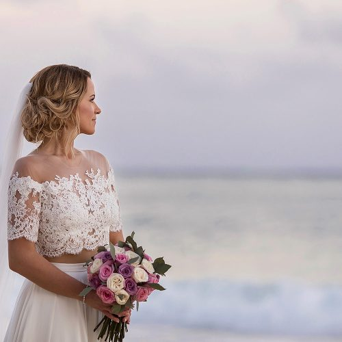 Portrait of bride on beach in Cancun