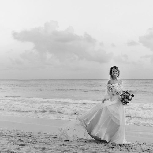Portrait of bride on beach after wedding in Cancun