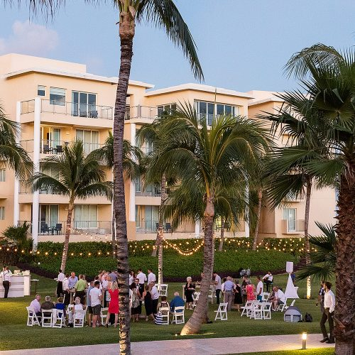 Cocktail party on the grass at NOW Jade Cancun Resort