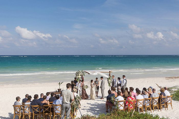 Wedding ceremony on beach in Cancun at perfect time of day
