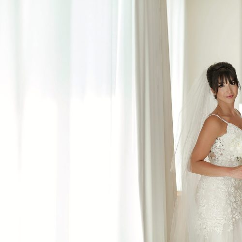 Portrait of bride in room at Secrets on the vine Cancun
