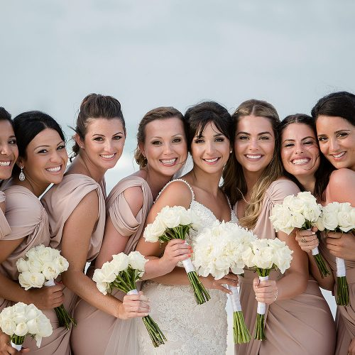 Bride and bridesmaids after wedding ceremony