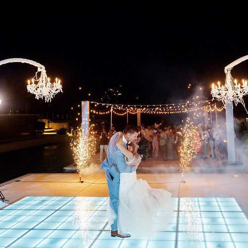 Bride and grooms first dance at Secrets on the vine Cancun