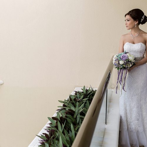 Portrait of bride at Moon Palace Cancun wedding